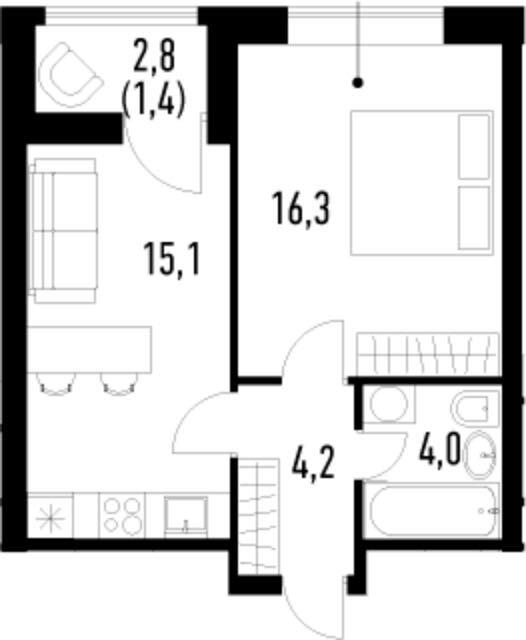 2-к.кв (евро), 42.4 м²