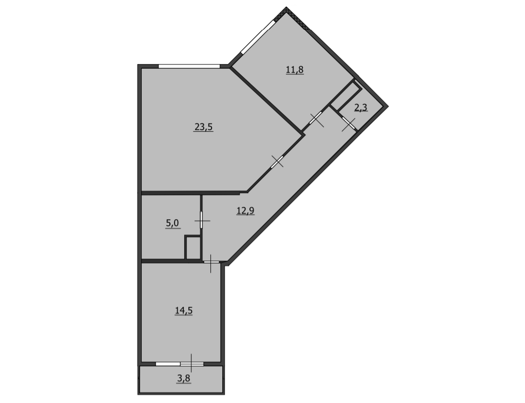 2-к.кв, 74.4 м²