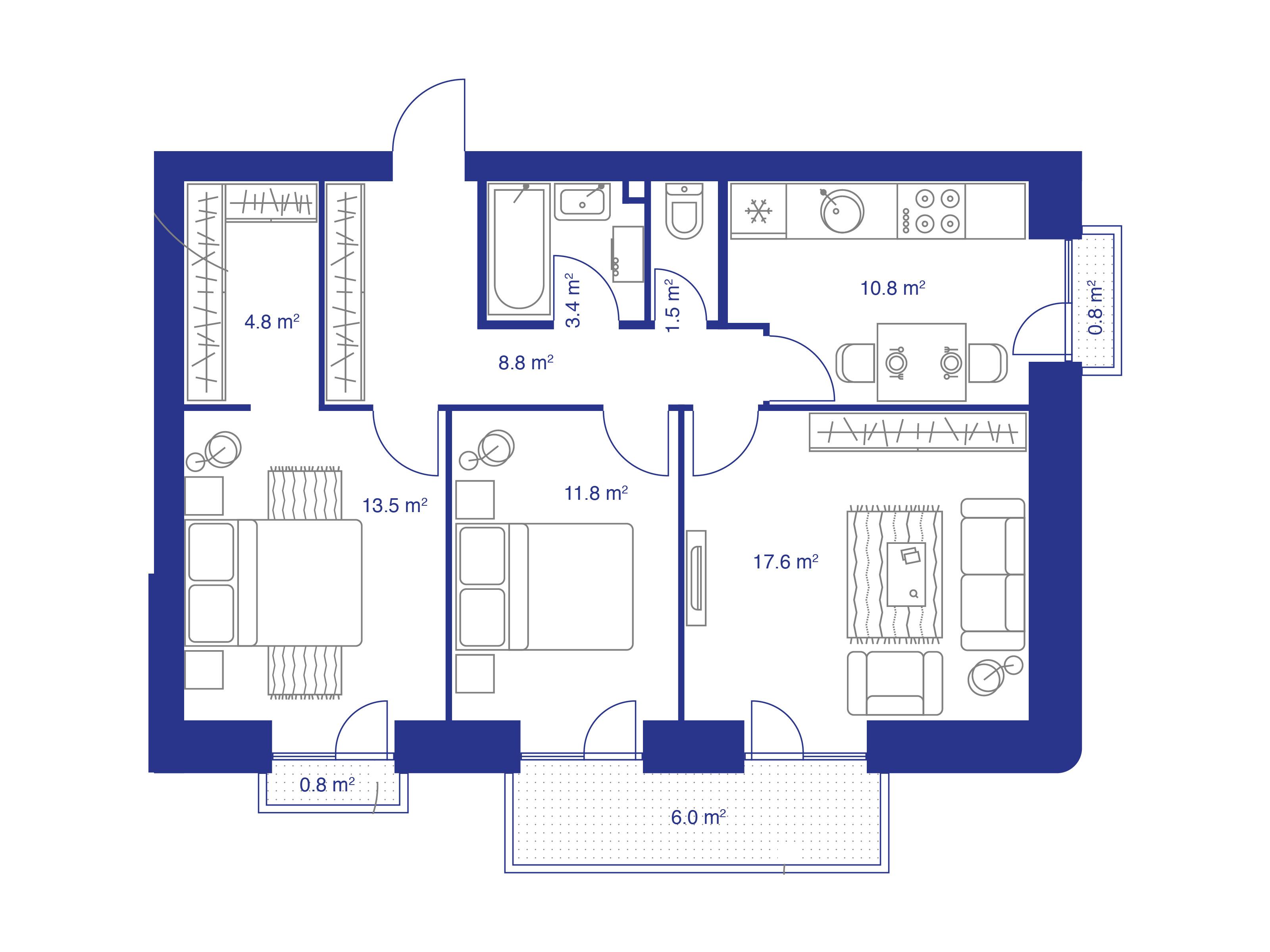 3-к.кв, 79.8 м²