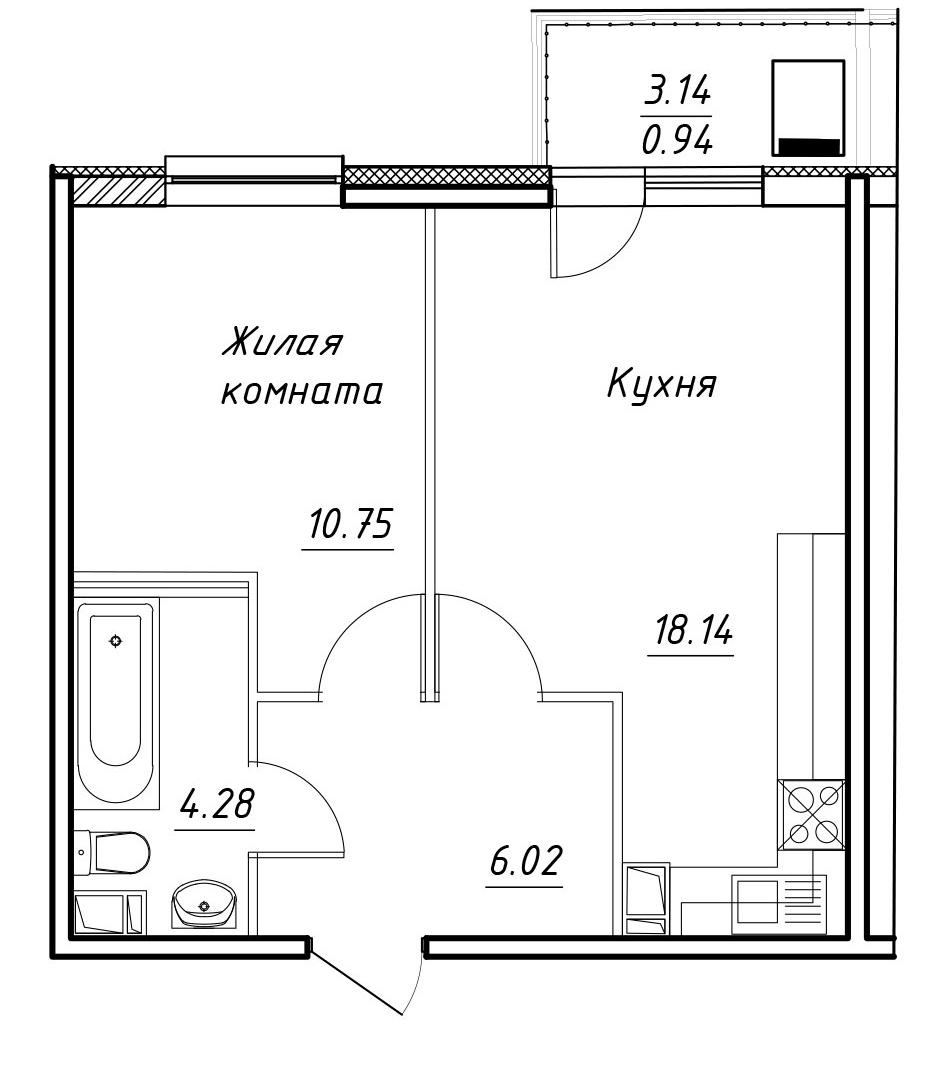 2-к.кв (евро), 42.33 м²