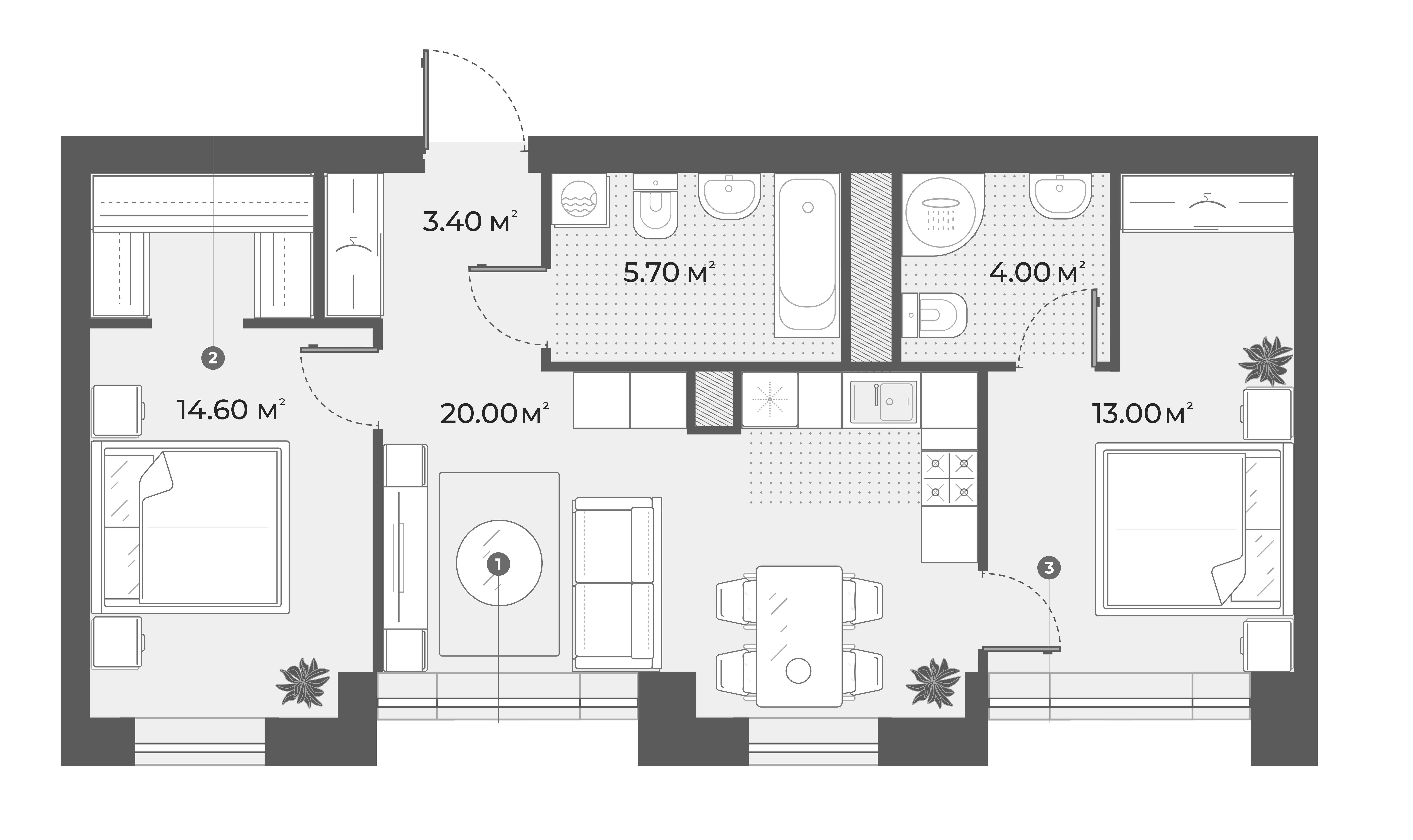 3Е-к.кв, 60.7 м², 3 этаж