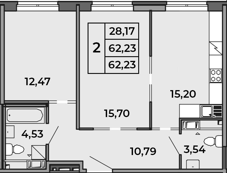 3Е-к.кв, 62.23 м²