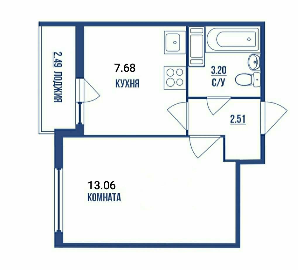 1-комнатная, 26.45 м²– 2