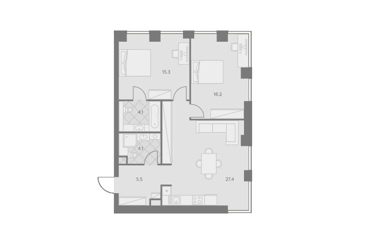 3Е-комнатная, 72.6 м²– 2