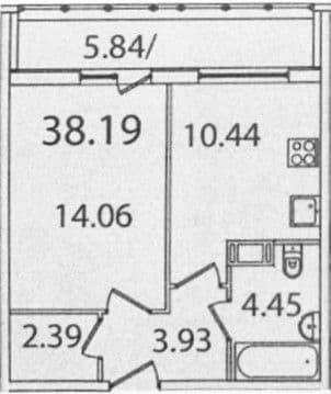 1-комнатная, 38.19 м²– 2