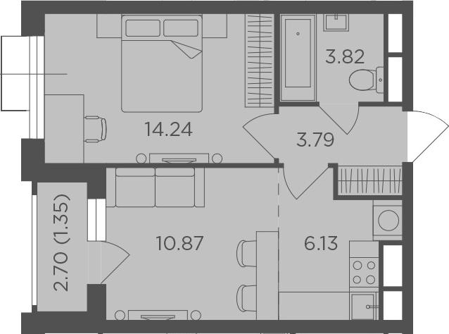 2Е-к.кв, 40.2 м²