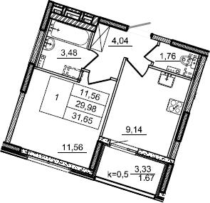 1-к.кв, 31.65 м², 2 этаж