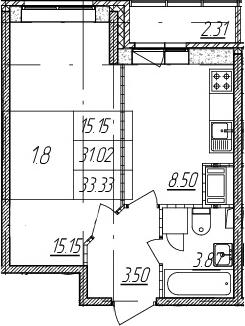 1-комнатная, 31.02 м²– 2