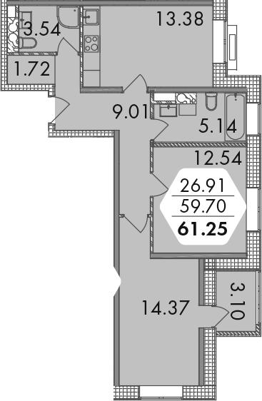 2-к.кв, 62.8 м²