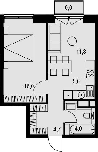 2Е-к.кв, 42.7 м², 8 этаж