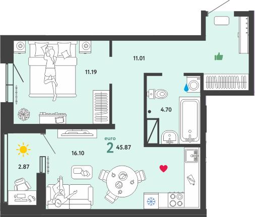 2Е-к.кв, 45.87 м², 7 этаж