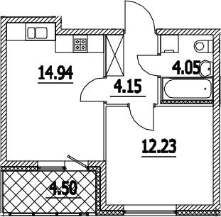 1-к.кв, 37.62 м², 3 этаж