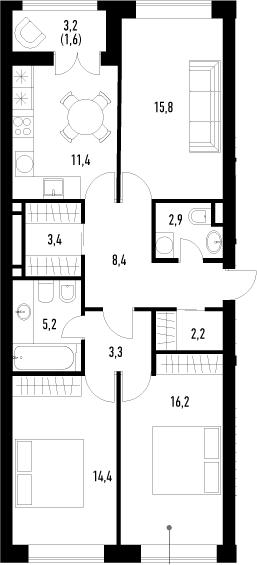 3-к.кв, 84.8 м², 2 этаж