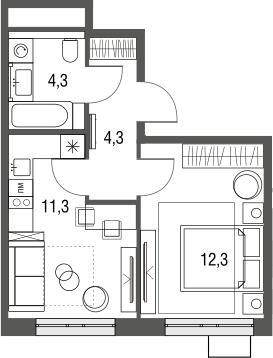 1-к.кв, 32.2 м²