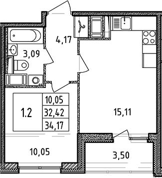 2Е-к.кв, 32.42 м², 3 этаж