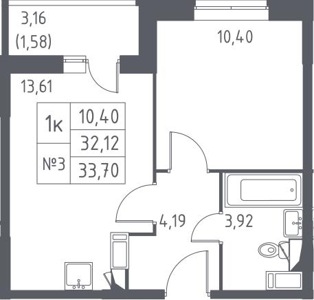 1-к.кв, 35.28 м²