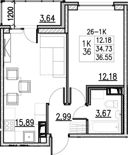 2Е-комнатная, 36.55 м²– 2