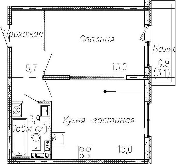 2Е-к.кв, 37.6 м², 2 этаж