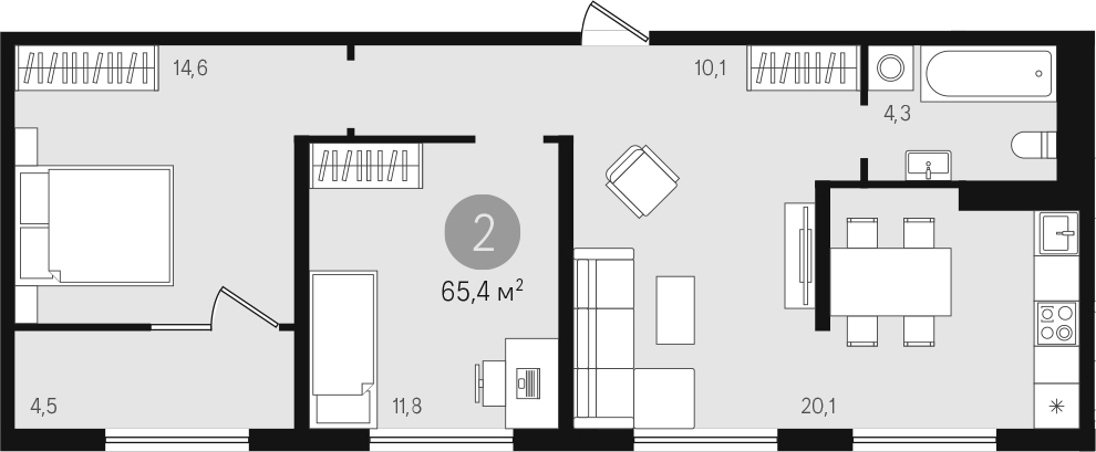 3Е-к.кв, 62.6 м²