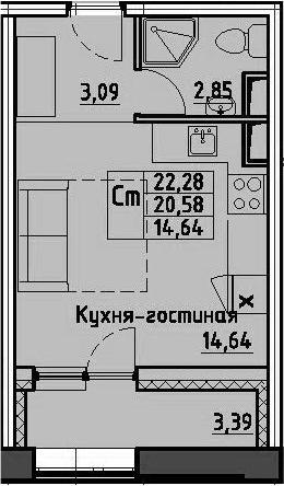 Студия, 22.28 м², 5 этаж