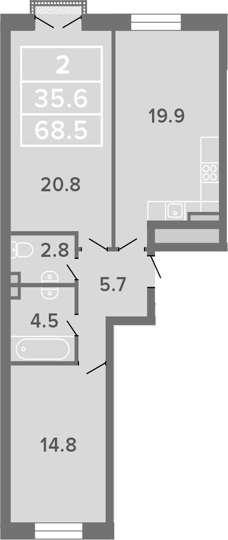 3-к.кв (евро), 68.5 м²