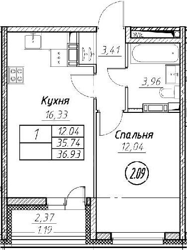 2Е-к.кв, 36.93 м², от 11 этажа