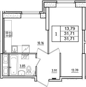 1-к.кв, 31.71 м², 1 этаж