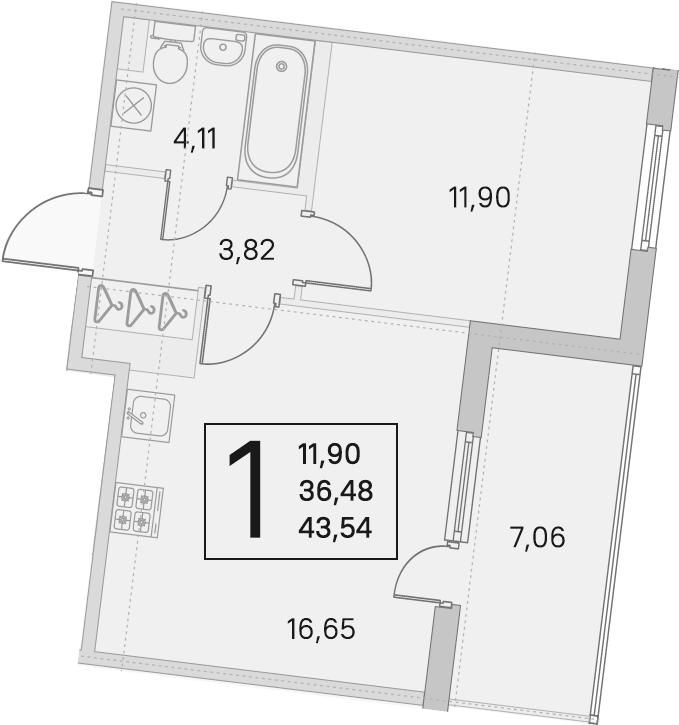 2Е-комнатная, 36.48 м²– 2