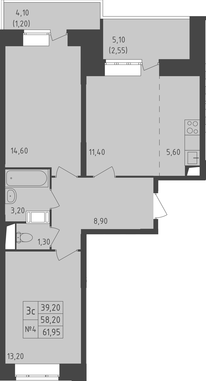 3-к.кв (евро), 67.3 м²