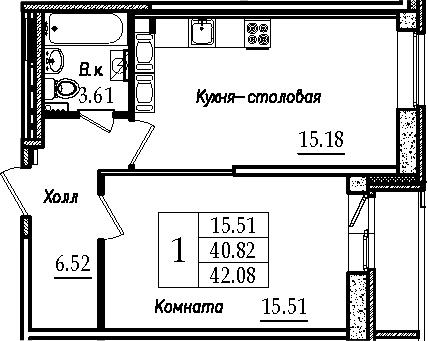2-к.кв (евро), 43.34 м²