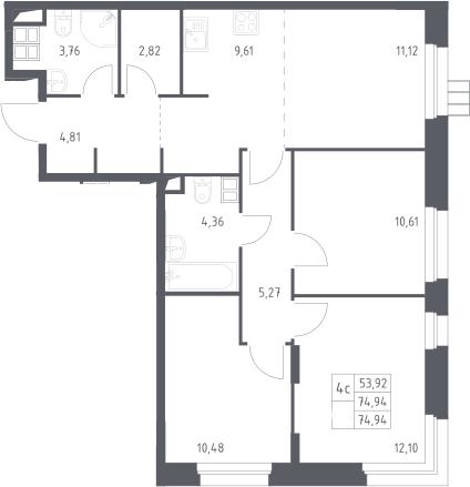 4Е-комнатная, 74.9 м²– 2