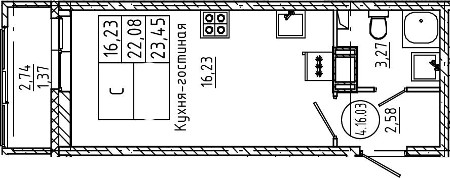 Студия, 23.45 м²
