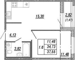 2Е-комнатная, 34.73 м²– 2