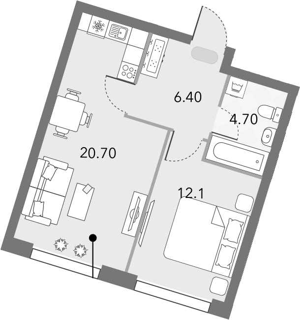 2Е-комнатная, 43.9 м²– 2