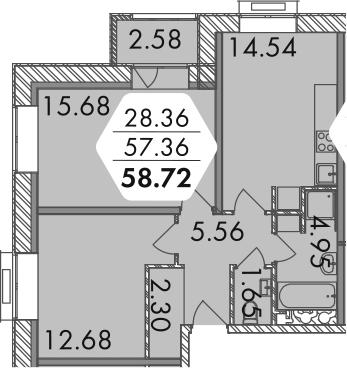 2-к.кв, 59.94 м²