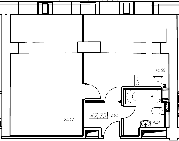 1-к.кв, 47.79 м²
