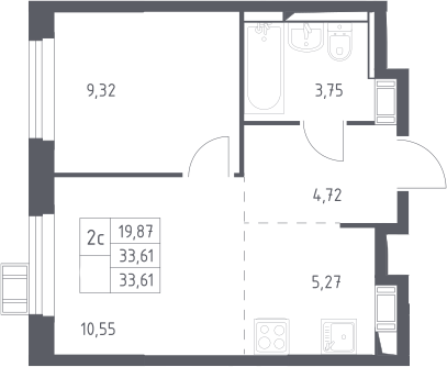 2Е-комнатная, 33.61 м²– 2