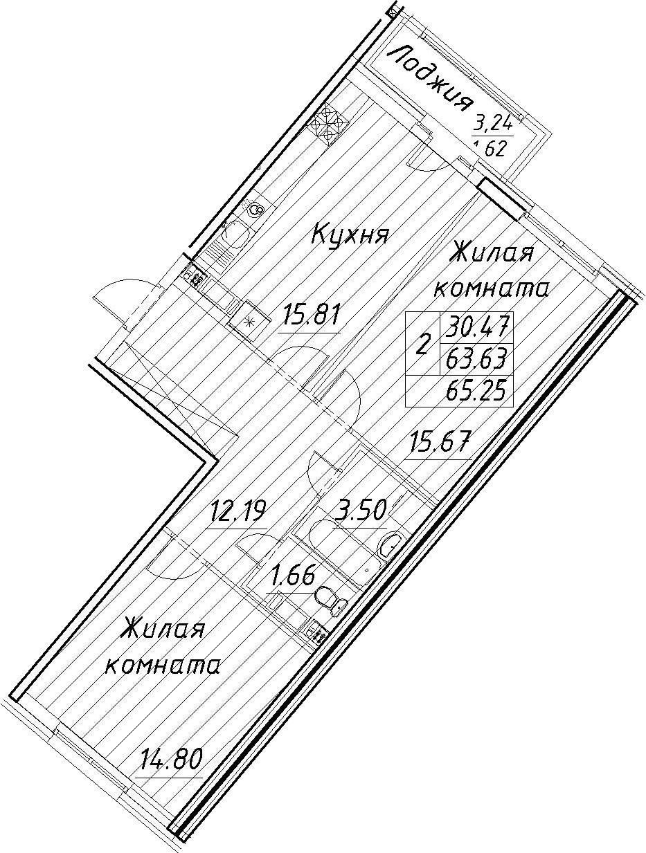 3-к.кв (евро), 66.87 м²