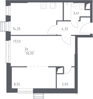 3Е-комнатная, 50.99 м²– 2