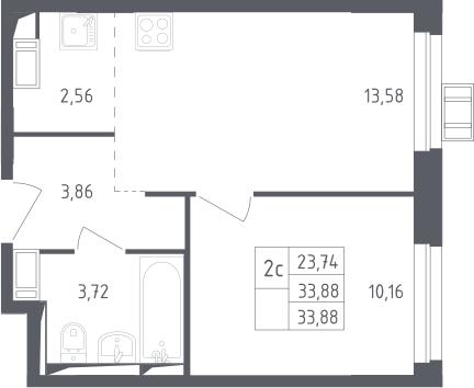 2Е-к.кв, 33.88 м², 14 этаж