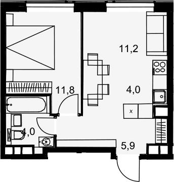 2Е-к.кв, 36.9 м², 26 этаж