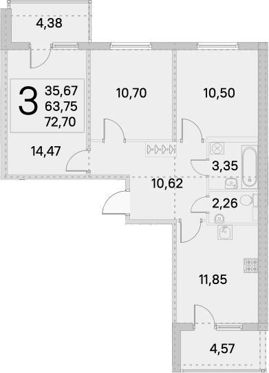 3-к.кв, 68.23 м²