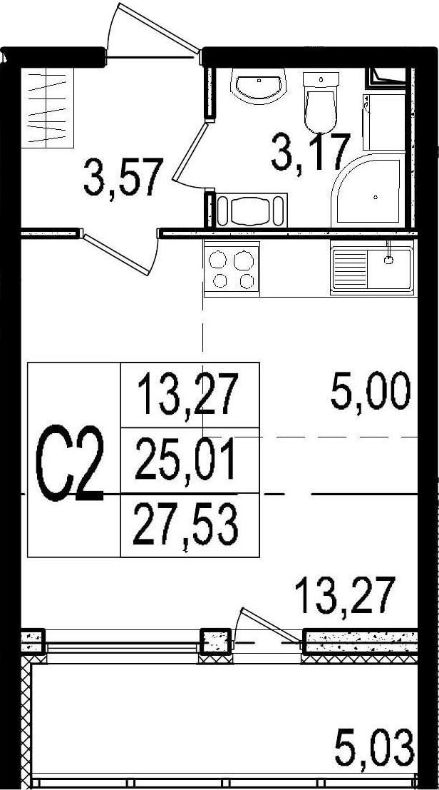 Студия, 25.01 м²– 2