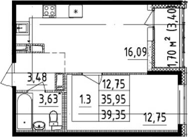 2Е-комнатная, 35.95 м²– 2