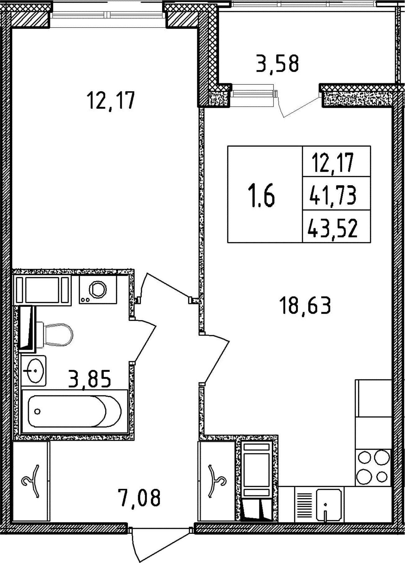 2Е-к.кв, 41.73 м², от 18 этажа