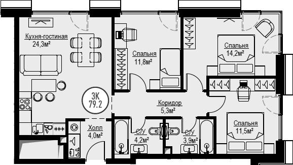 4Е-к.кв, 79.2 м², от 29 этажа