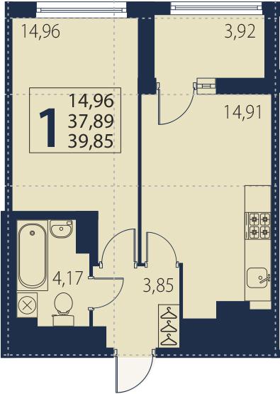 2Е-к.кв, 37.89 м², 13 этаж
