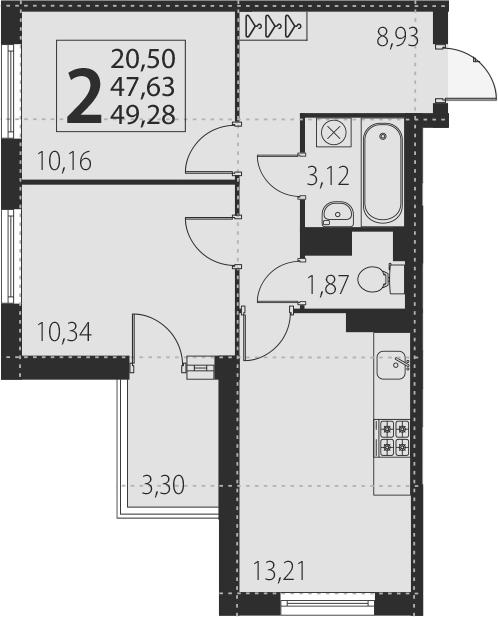 2-комнатная, 49.28 м²– 2