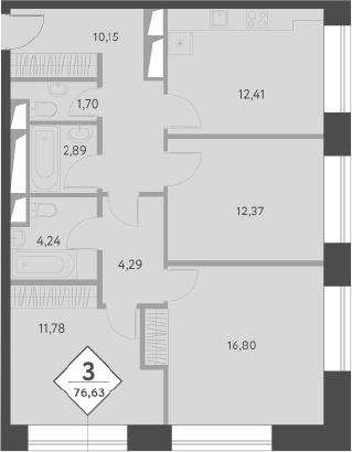 3-к.кв, 76.63 м²