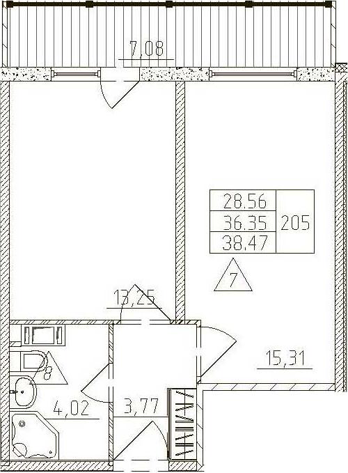 1-к.кв, 43.43 м²